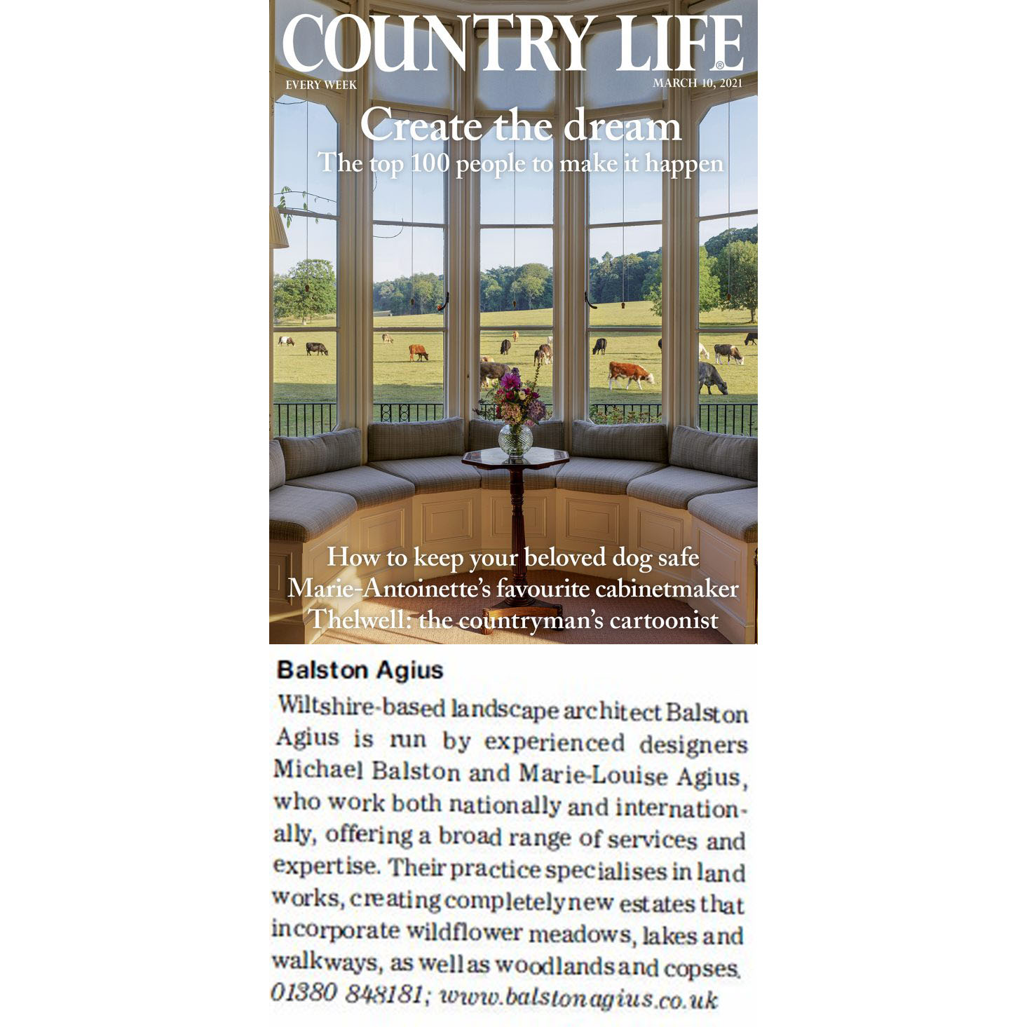 Featured in Country Life's top 100 – March 2021